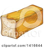 Clipart Of A Sketched Loaf Of Bread Royalty Free Vector Illustration