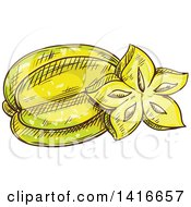 Clipart Of A Sketched Star Fruit Royalty Free Vector Illustration