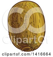 Clipart Of A Sketched Kiwi Royalty Free Vector Illustration