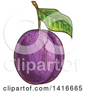 Clipart Of A Sketched Plum Royalty Free Vector Illustration by Vector Tradition SM