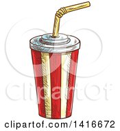 Clipart Of A Sketched Fountain Soda Royalty Free Vector Illustration by Vector Tradition SM