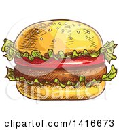 Clipart Of A Sketched Hamburger Royalty Free Vector Illustration