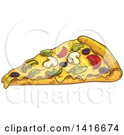 Clipart Of A Sketched Slice Of Pizza Royalty Free Vector Illustration by Vector Tradition SM