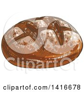 Clipart Of A Sketched Bread Boule Royalty Free Vector Illustration by Vector Tradition SM