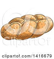 Clipart Of A Sketched Loaf Of Challah Bread Royalty Free Vector Illustration by Vector Tradition SM