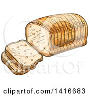 Clipart Of A Sketched Loaf Of Sliced Bread Royalty Free Vector Illustration by Vector Tradition SM