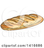 Clipart Of A Sketched Loaf Of French Bread Royalty Free Vector Illustration by Vector Tradition SM
