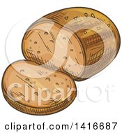 Clipart Of A Sketched Loaf Of Bread Royalty Free Vector Illustration by Vector Tradition SM