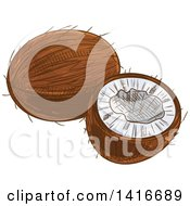 Clipart Of A Sketched Coconut Royalty Free Vector Illustration by Seamartini Graphics