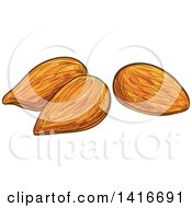 Clipart Of Sketched Almonds Royalty Free Vector Illustration by Vector Tradition SM
