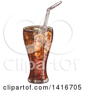 Clipart Of A Sketched Glass Of Soda Royalty Free Vector Illustration