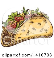 Clipart Of A Sketched Doner Kebab Royalty Free Vector Illustration