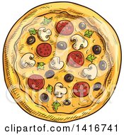 Clipart Of A Sketched Pizza Royalty Free Vector Illustration by Vector Tradition SM