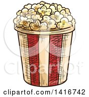 Clipart Of A Sketched Bucket Of Popcorn Royalty Free Vector Illustration by Vector Tradition SM
