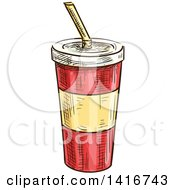 Clipart Of A Sketched Fountain Soda Royalty Free Vector Illustration