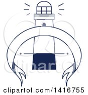 Clipart Of A Blue And White Lighthouse Design Royalty Free Vector Illustration by Vector Tradition SM