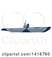 Clipart Of A Navy Blue Submarine Royalty Free Vector Illustration