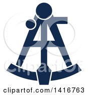 Clipart Of A Navy Blue Nautical Sextant Royalty Free Vector Illustration