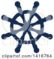 Clipart Of A Navy Blue Ships Helm Royalty Free Vector Illustration by Vector Tradition SM