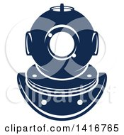 Clipart Of A Navy Blue Diving Helmet Royalty Free Vector Illustration by Vector Tradition SM