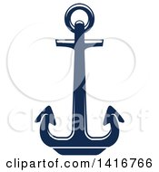 Clipart Of A Navy Blue Nautical Anchor Royalty Free Vector Illustration