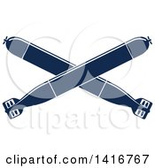 Clipart Of Navy Blue Crossed Torpedos Royalty Free Vector Illustration