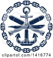 Clipart Of A Navy Blue Submarine Torpedo And Nautical Anchor Royalty Free Vector Illustration by Vector Tradition SM