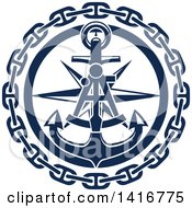 Clipart Of A Navy Blue Nautical Sextant Star Chain And Anchor Royalty Free Vector Illustration