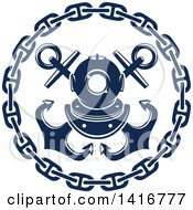 Clipart Of A Navy Blue Crossed Nautical Anchors Chain And Diving Helmet Design Royalty Free Vector Illustration
