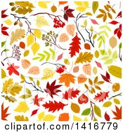 Clipart Of A Seamless Background Pattern Of Leaves Royalty Free Vector Illustration