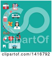 Clipart Of A Background With Medical Icons On Turquoise Royalty Free Vector Illustration