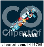Clipart Of A Medical Vaccine Syringe Made Of Icons On Blue With Text Royalty Free Vector Illustration