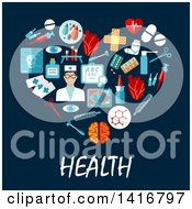 Heart Formed Of Medical Icons With Health Text On Blue