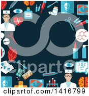 Clipart Of A Background With Medical Icons On Blue Royalty Free Vector Illustration