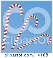 Three Red And White Striped Peppermint Candy Canes On A Blue Background