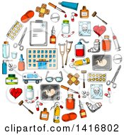 Clipart Of A Round Pill Made Of Sketched Medical Icons Royalty Free Vector Illustration