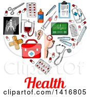 Clipart Of A Sketched Heart Formed Of Medical Icons With Health Text Royalty Free Vector Illustration by Vector Tradition SM