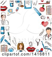 Background With Sketched Dental Icons