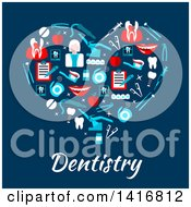Heart Made Of Dental Icons With Text On Blue