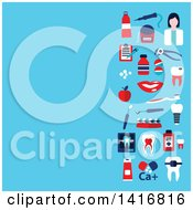 Clipart Of A Background With Dental Icons On Blue Royalty Free Vector Illustration by Vector Tradition SM