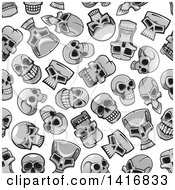 Poster, Art Print Of Seamless Background Pattern Of Skulls