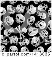 Seamless Background Pattern Of Skulls