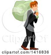 Clipart Of A White Business Man Carrying A Euro Money Sack Royalty Free Vector Illustration by Vector Tradition SM