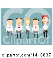 Clipart Of A Flat Design Business Team On Blue Royalty Free Vector Illustration by Vector Tradition SM