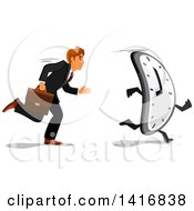 Clipart Of A White Business Man Racing A Clock Royalty Free Vector Illustration by Vector Tradition SM
