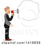Clipart Of A White Business Man Screaming Through A Megaphone Royalty Free Vector Illustration