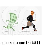 Clipart Of A White Business Man Being Chased By A Banknote Royalty Free Vector Illustration by Vector Tradition SM