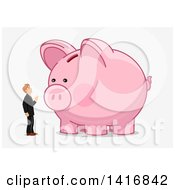 Clipart Of A White Business Man Talking To A Piggy Bank Royalty Free Vector Illustration