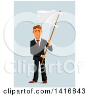Clipart Of A White Business Man Surrendering And Holding Up A White Flag Royalty Free Vector Illustration