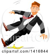 Clipart Of A White Business Man Slipping On A Banana Peel Royalty Free Vector Illustration